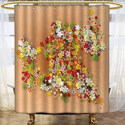 Amazon.com: Anhounine Floral Shower curtains Fabric Summer Season ...