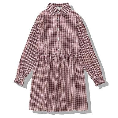 Packitcute Fresh Check Dress Bubble Sleeve Polo Collar Sueltos ...
