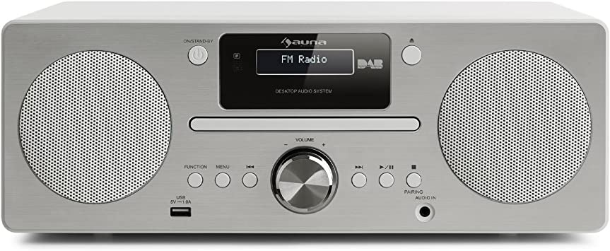 AUNA Harvard - Equipo de música, Reproductor de CD, Receptor Dab/Dab+, FM, Bluetooth, USB, AUX, Memoria 80 emisoras, Función RDS, Mando Distancia, ...