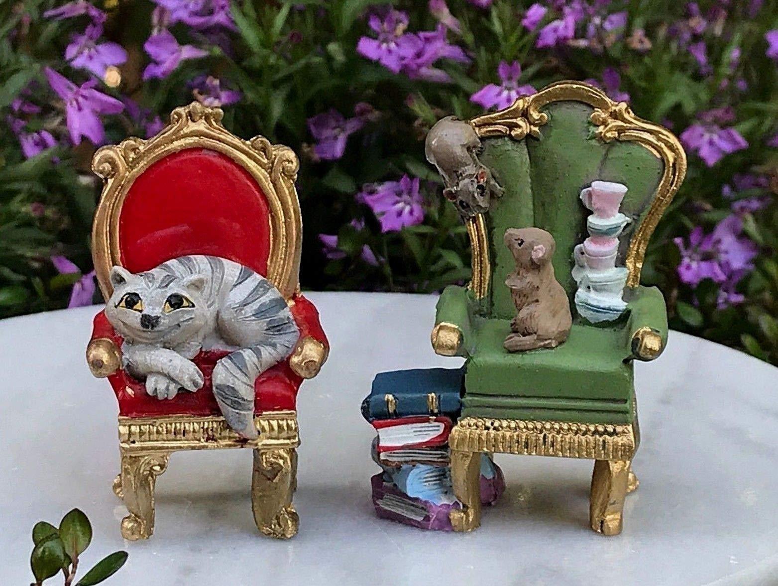 Adjore Miniature Dollhouse Fairy Garden ~ Alice in Wonderland 2 Chairs w/Cheshire C ~ Best Outdoor Accessory