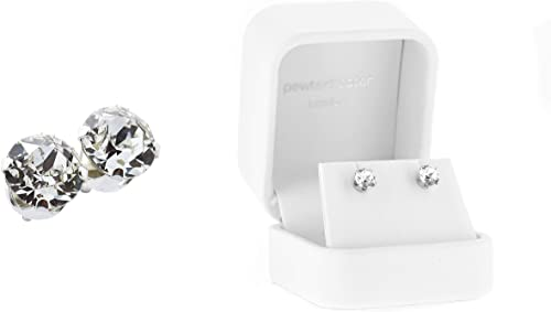 White Sapphire Round Stud Earrings in Solid Sterling Silver w//Gift box 4 ct