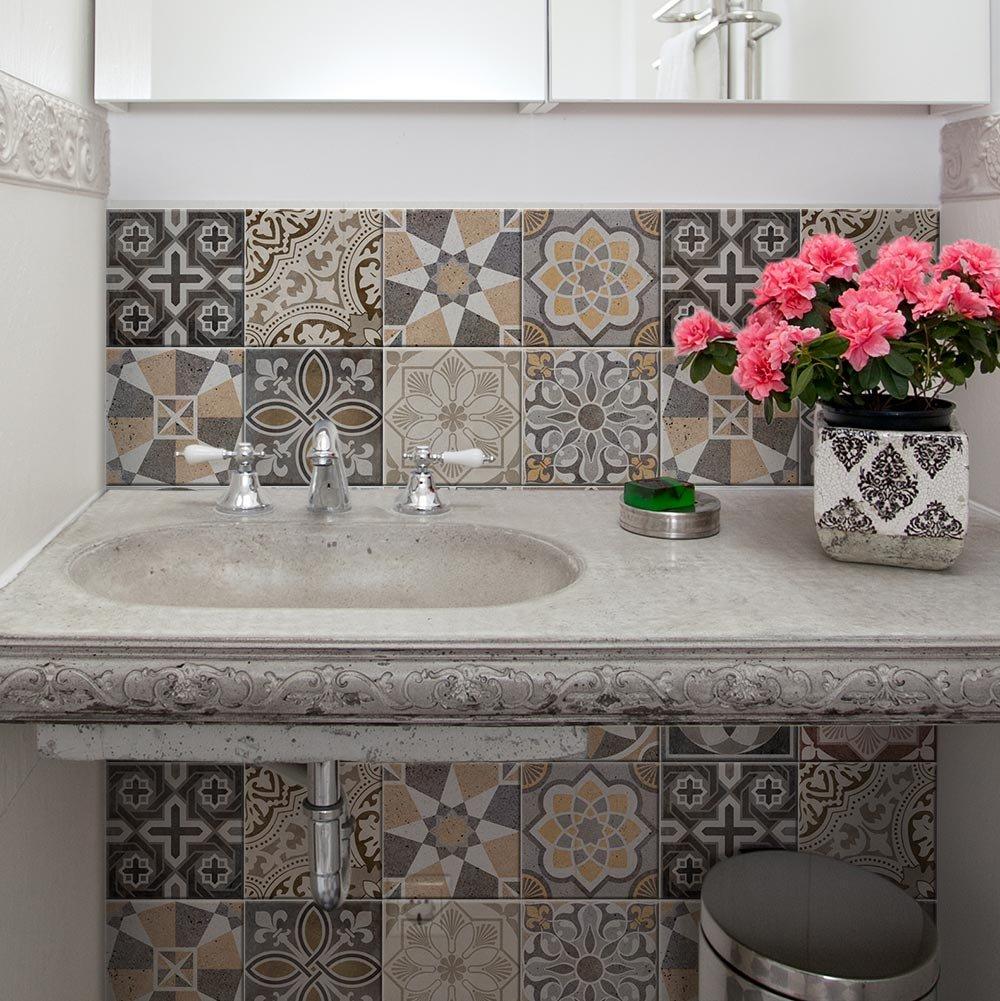 (36 PIECES) carrelage adhésif 10x10 cm - PS00147-P - Volterra - Adhésive décorative à carreaux pour salle de bains et cuisine Stickers carrelage - collage des tuiles adhésives wall art