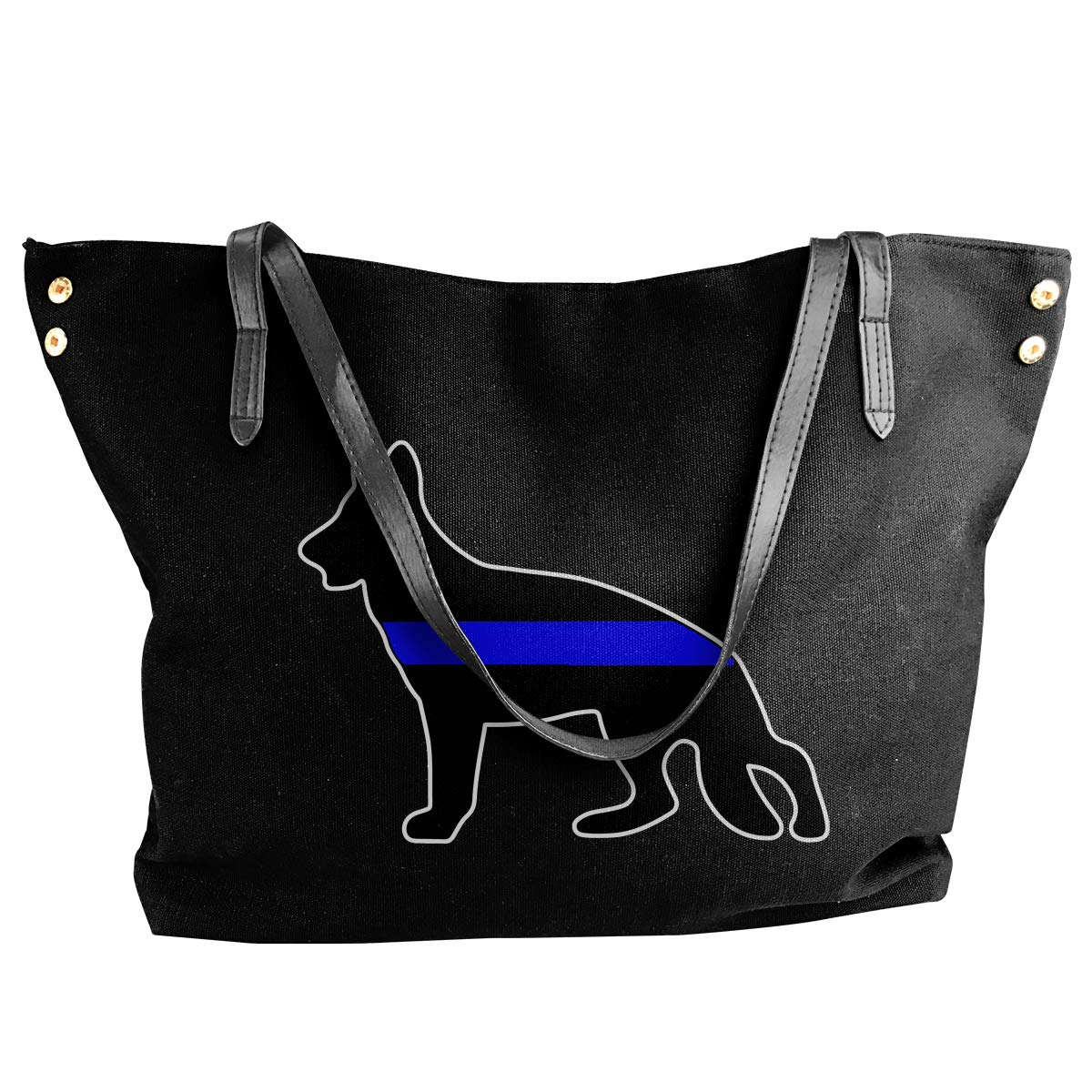 Womens Canvas Large Tote Shoulder Handbag German Shepherd Thin Blue Line Handbags
