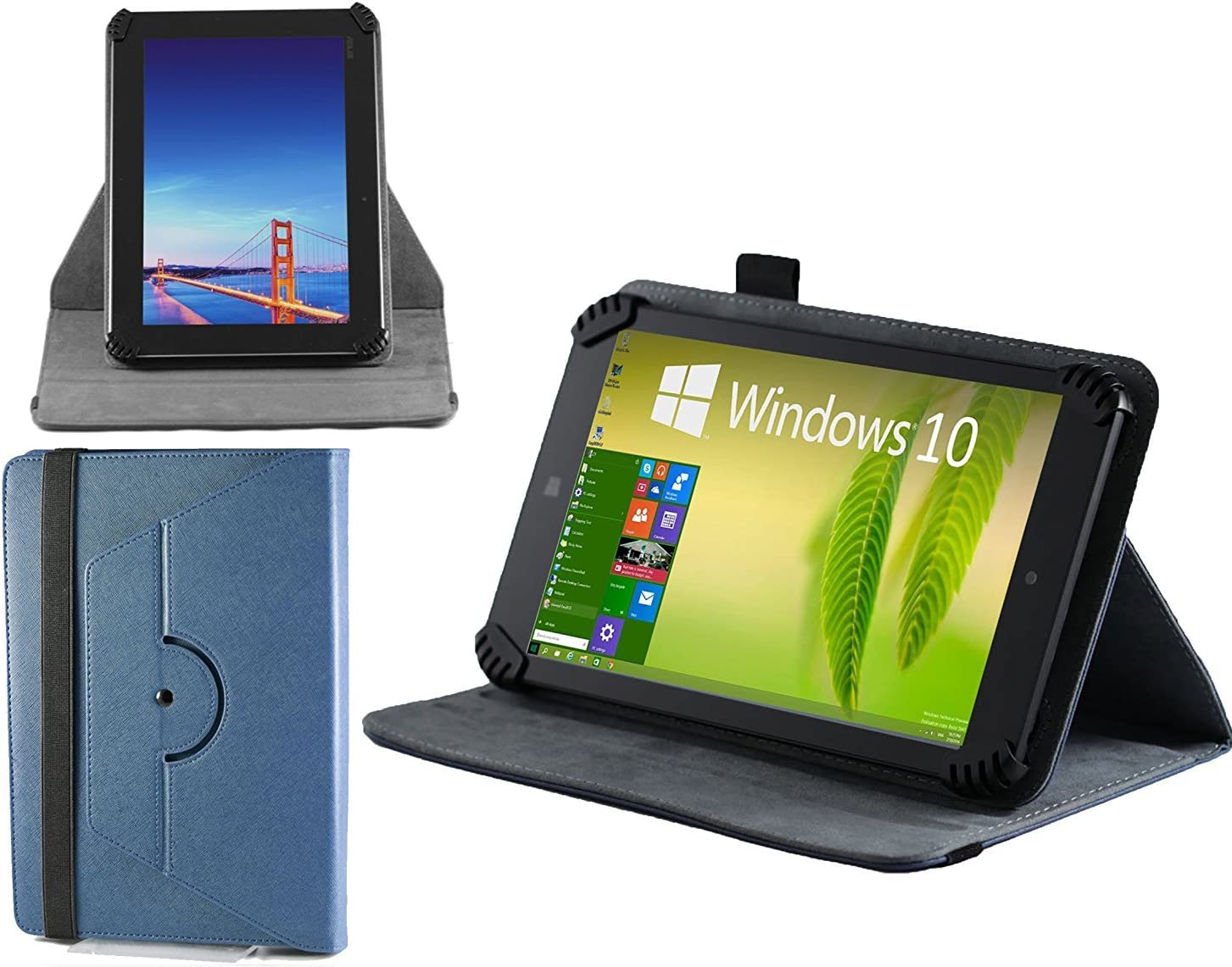 Navitech Blue Faux Leather Hard Case Cover with 360 Rotational Stand Compatible with The Acer ICONIA A1-830