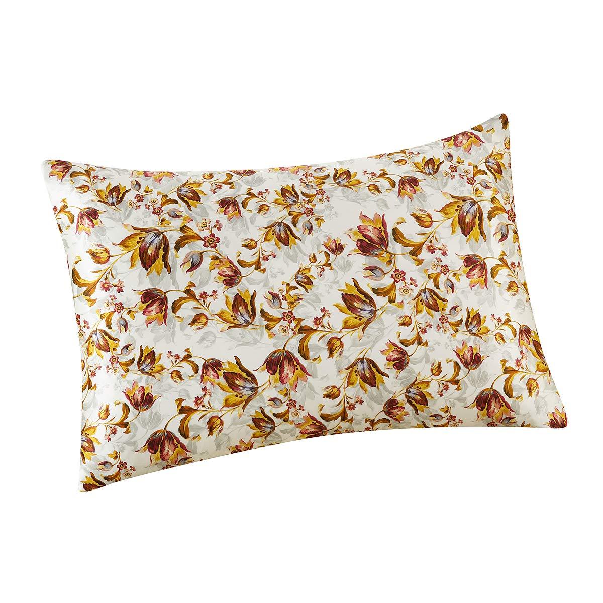 ALASKA BEAR - Natural Silk Pillowcase, Hypoallergenic, 19 Momme, 600 Thread Count 100% Mulberry Silk, King Size with Hidden Zipper, Custom Painting Pillow Case(1, Flowers(Ivory Grounding))