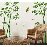 ufengke® Chinois Style Vert Bambou et Oiseau Stickers Muraux, Salle de Séjour Chambre à Coucher Autocollants Amovibles