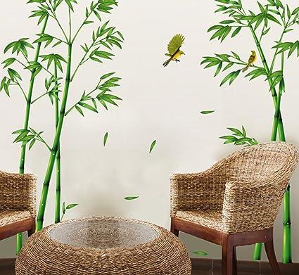 ufengke® Stile Cinese Verde Bambù e Uccello Adesivi Murali, Camera Da Letto  Soggiorno Adesivi Da Parete Removibili Stickers Murali Decorazione Murale