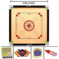 SMT Full Size(Large) 32' Inch 4mm Matte Finish Round Pocket Carrom Board with Coins, Striker, Powder