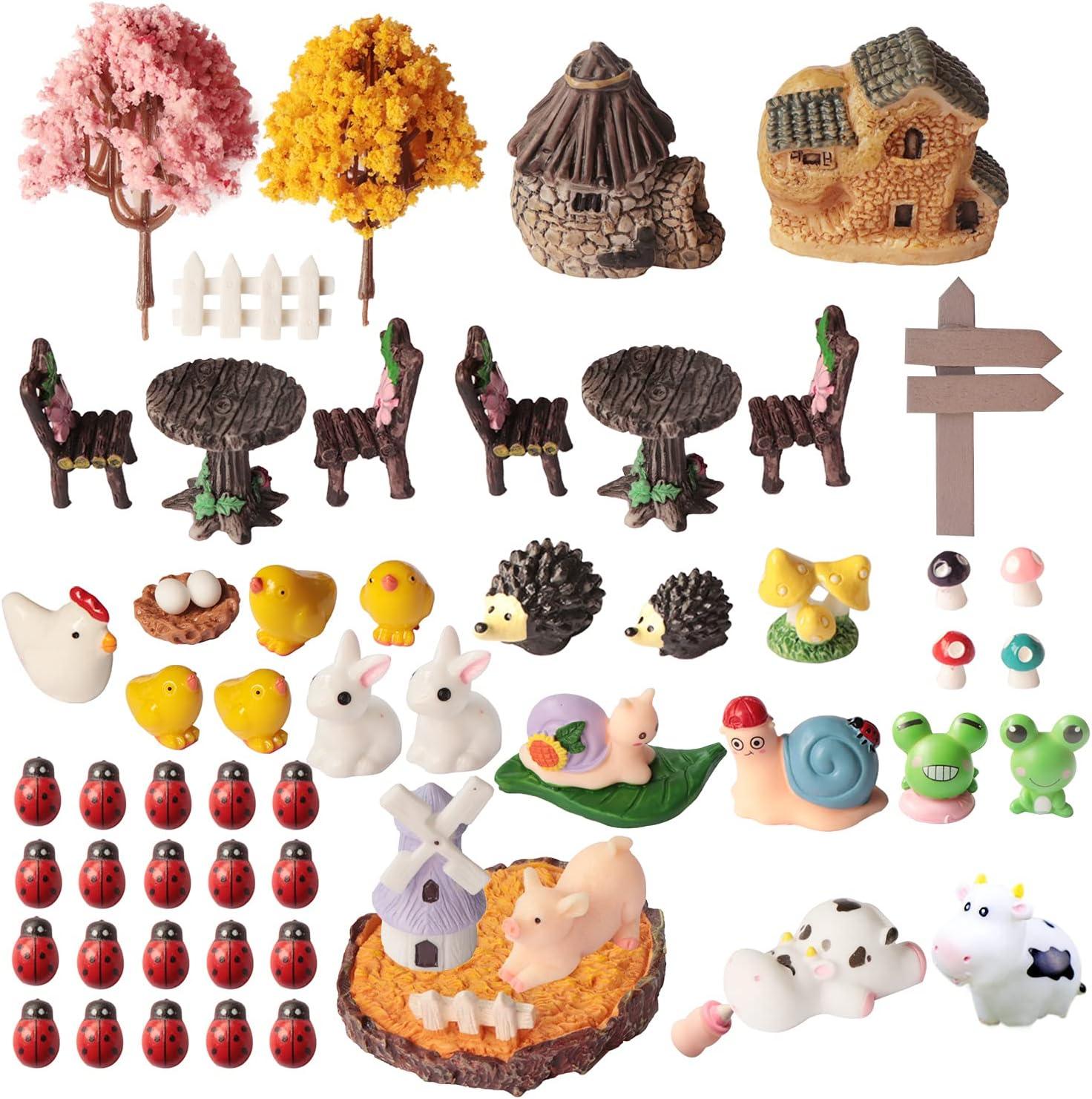 SPWOLFRT 58 Pieces Fairy Garden Accessories, Fairy Garden Kit, Fairy Garden Animals, Miniature Figurines, Micro Landscape Ornaments Kit, Garden DIY Kit, Environmental Resin (58)