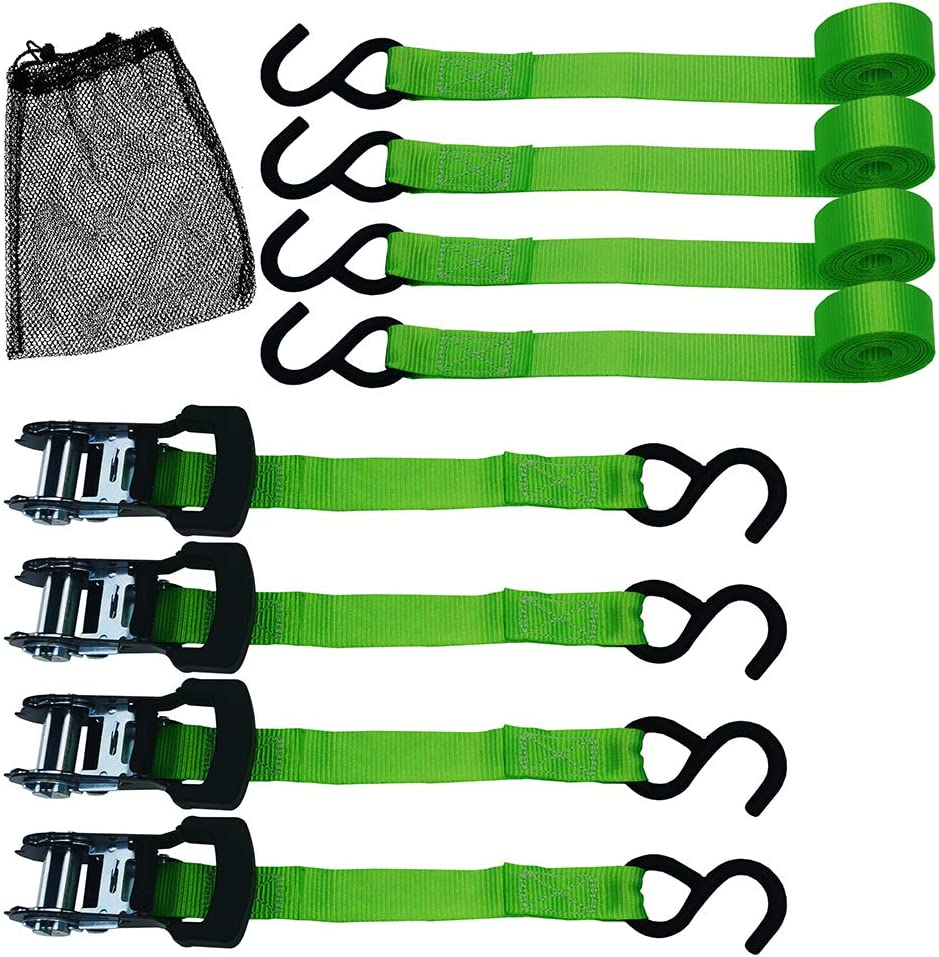 TOPSKY Ratchet Tie Down Straps, 1 in x 10 ft Straps, 1500lbs Break Strength, Moving and Securing Cargo, Green(4 Pack): Automotive