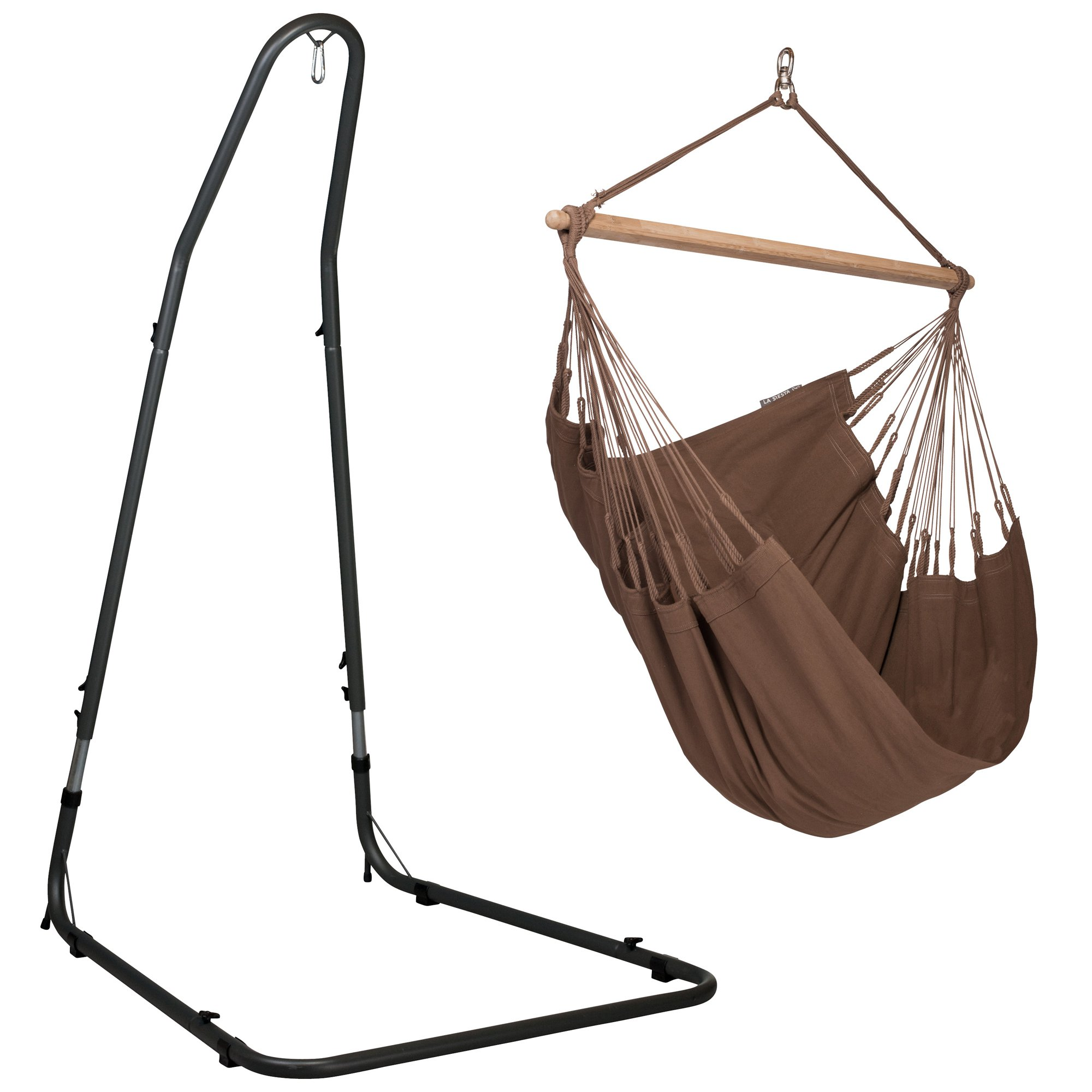 LA SIESTA Modesta Arabica - Organic Cotton Basic Hammock Swing Chair with Powder Coated Steel Stand