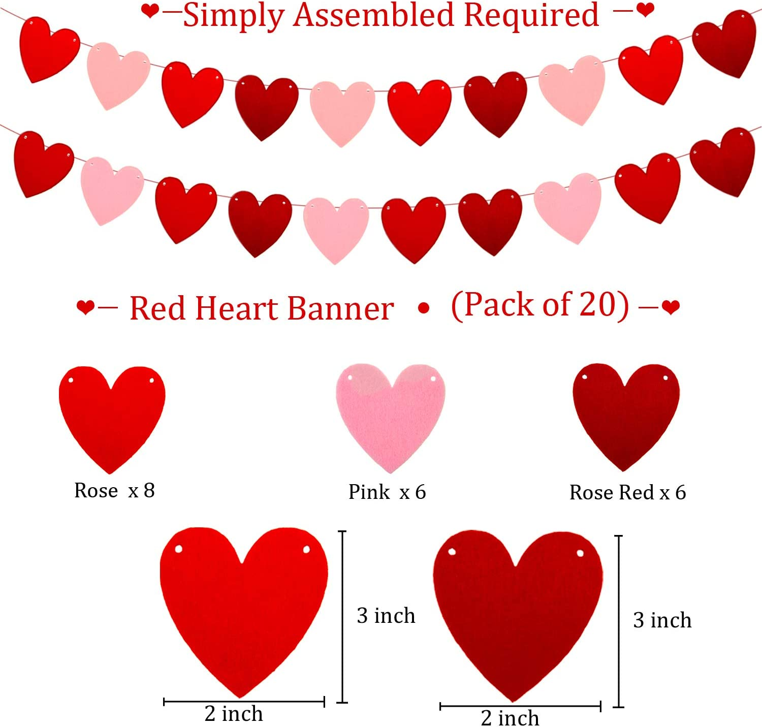 Wedding Engagement and Party Decoration Supplies 3 Pieces Valentines Day Banner Burlap Love Banner Be Mine Banner Felt Heart Garland Banner for Valentines Day Love Banner and Felt Heart