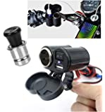 Lukzer 1 PC Motorbike Waterproof Charger 2 in 1 Bike Charger with Cigarette Lighter 5V USB Power Socket ON/Off Switch