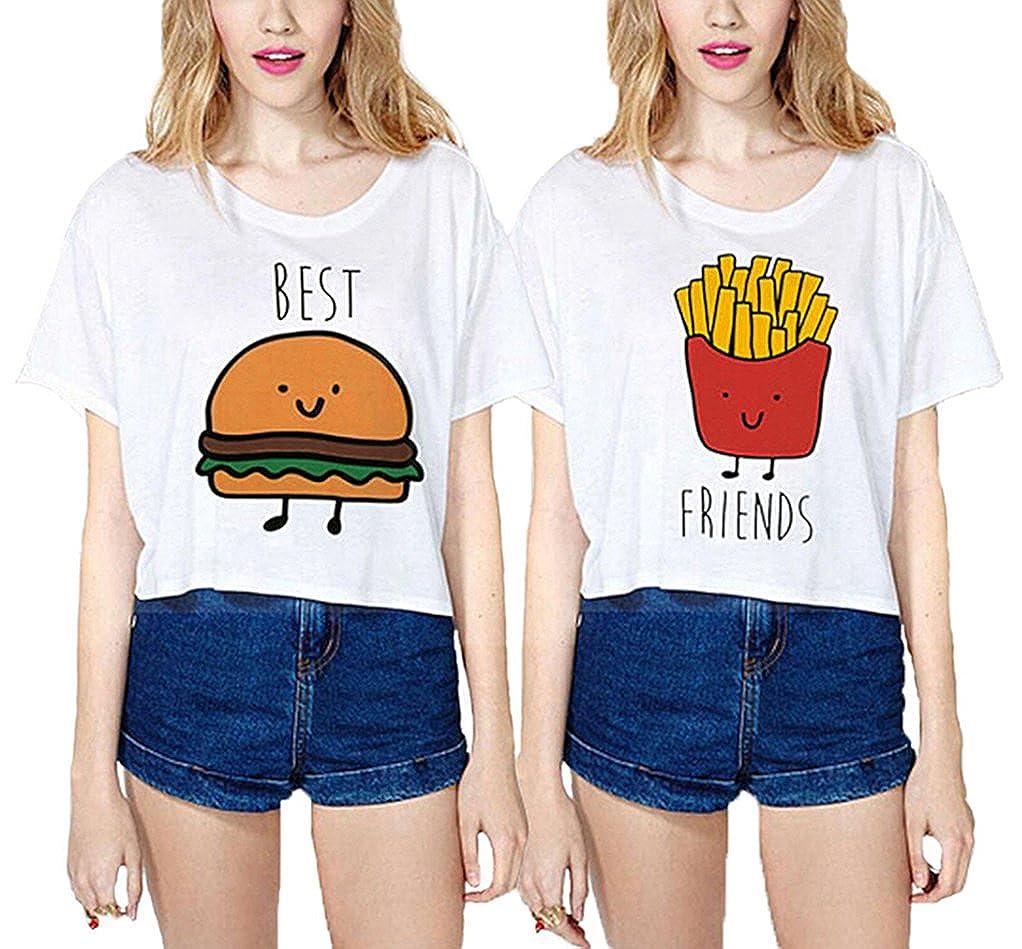 Ziwater Best Friends 2 Pezzi Maglietta Donna Cotone Casuale Tops Divertente Stampa Hamburger e Patatine Fritte T-Shirt