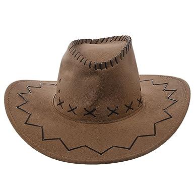 1ed222b608c Cowboy Cowgirl hat - SODIAL(R) Retro Unisex Denim Wild West Cowboy Cowgirl  Rodeo Fancy Dress Accessory Hats khaki  Amazon.co.uk  Clothing
