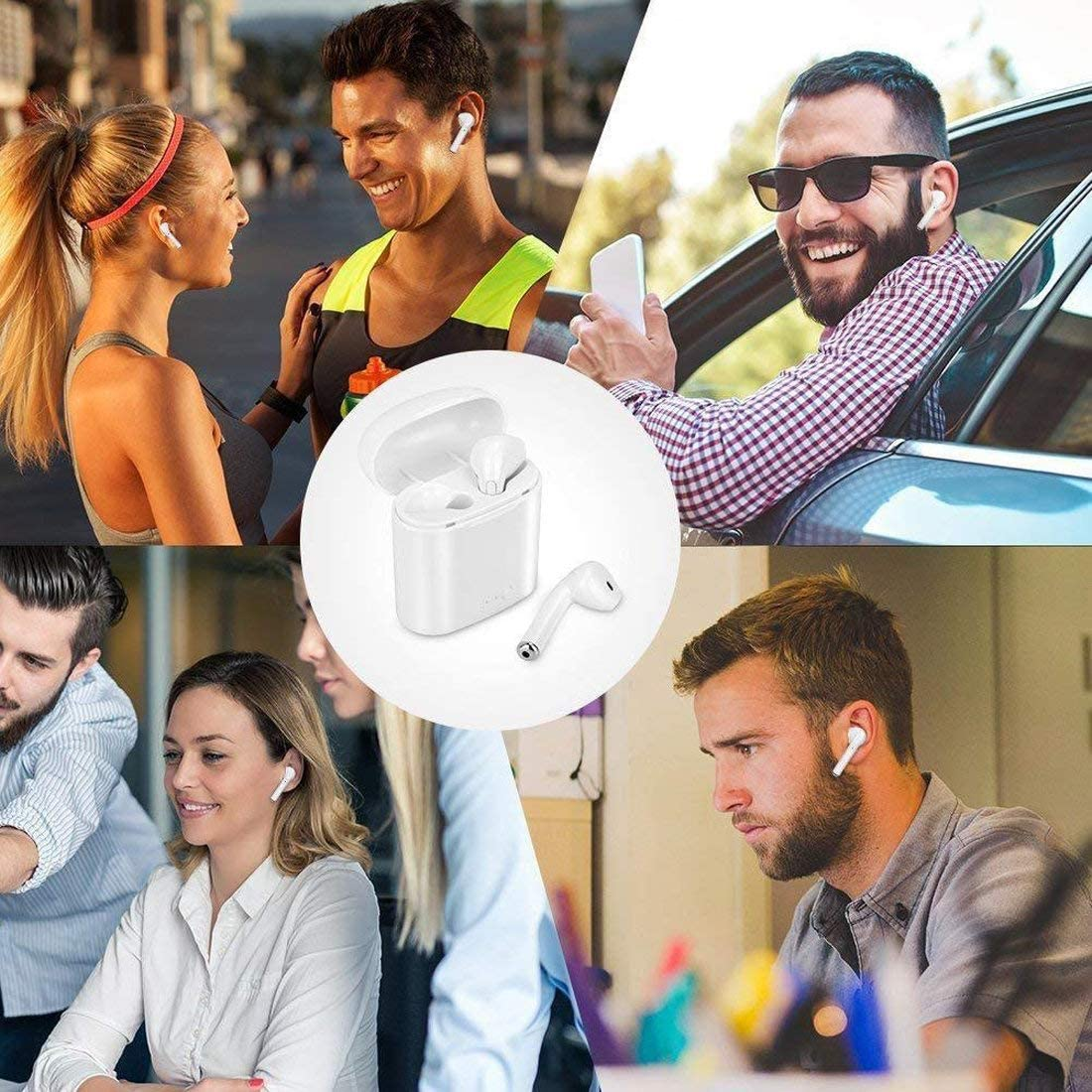 210 Anti-Sweat Earplugs Gym Running for All Smartphones Long Battery Life Wireless Bluetooth Earbuds with Portable Charging Case in-Ear Noise Cancelling Stereo Headset