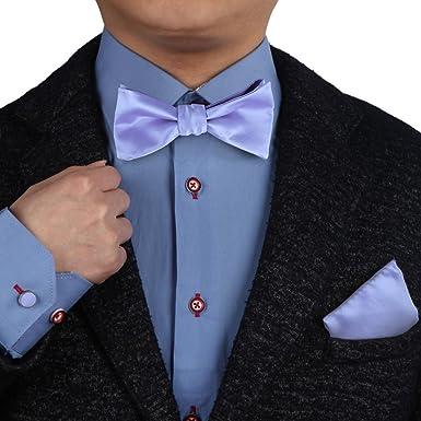 41fc7db1e13a Lavender Wedding Bow Ties Self Tie For Men Hanky Cufflinks With Free Box  BT1003