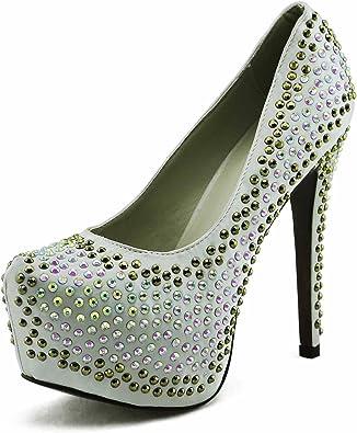 TrendStar Schuhe Kaufen Online Günstig Damen Plattform Absatz Partei Hochzeit Glitter Stiletto