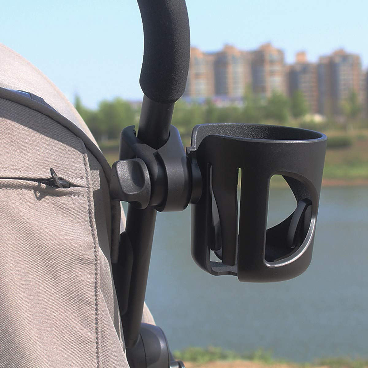Black Drink and Coffee Cup Holder for Baby Buggy and Bike Universal Baby Bottle Organizer for Stroller VDROL Stroller//Pushchair Cup Holder with 2 Hooks 360 Degree Rotation Pram Cup Holder