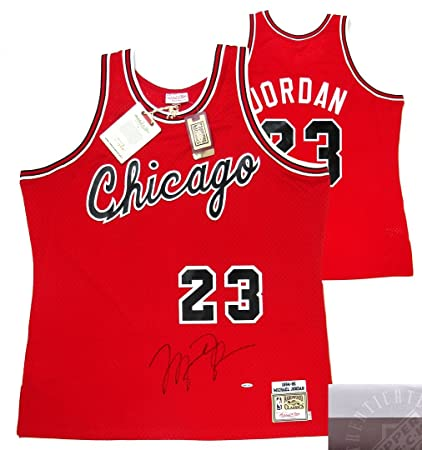 c64ea6c5bce Image Unavailable. Image not available for. Color  Michael Jordan  Autographed Signed Chicago Bulls Mitchell   Ness Vintage Rookie Season NBA  Basketball ...