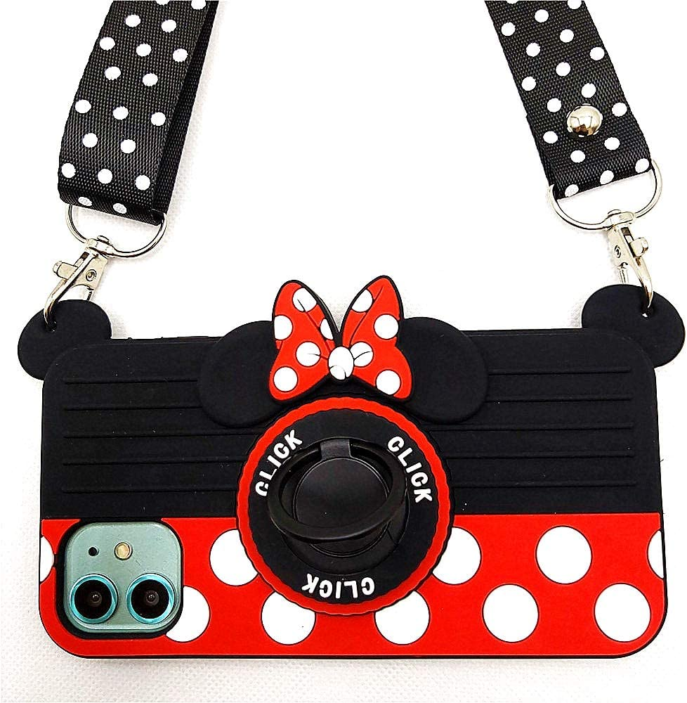 "iPhone 11 Pro Max Case Cute iPhone 11 Pro Max Case Minnie Mouse 3D Carton Camera Ring Grip Holder Kickstand Lanyard Teens Girls Women Soft Silicone Rubber Cover for iPhone 11 Pro Max 6.5"" (11 Pro Max)"