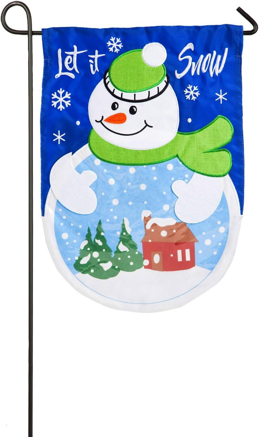 Evergreen Let it Snow-Globe Applique Garden Flag, 12.5 x 18 inches