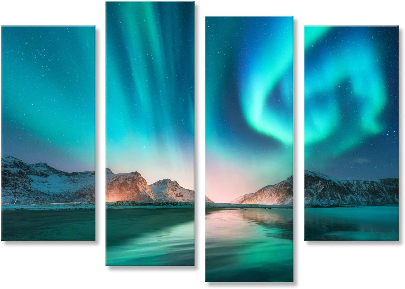 Northern lights over Reine Norway Canvas Wall Art Picture Print