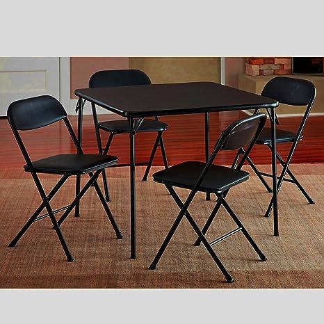 Prime Amazon Com Black Metal Folding Table Set Small Portable Theyellowbook Wood Chair Design Ideas Theyellowbookinfo