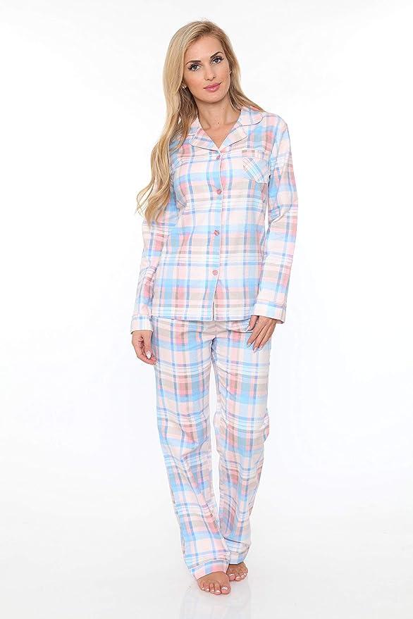 defd7b8a6c Amazon.com  White Mark Women s Flannel Pajama Set 100% Cotton 2-PC PJ Set  Sleepwear  Clothing