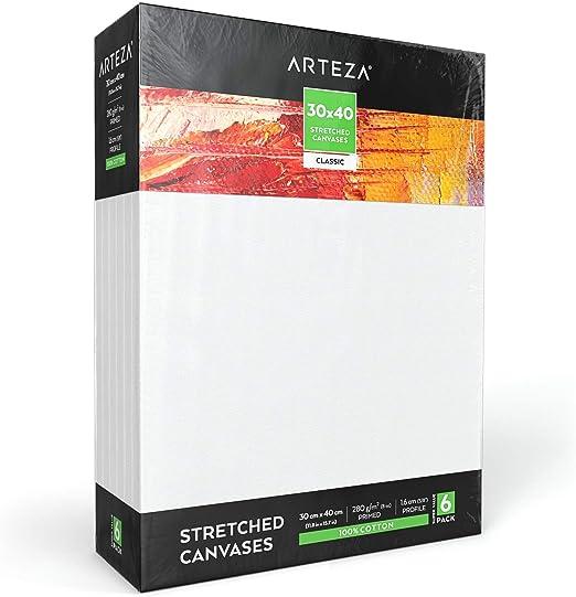 Arteza Lienzo para pintar cuadros | 30x40 cm | Pack de 6 | 100% algodón | Lienzos con imprimación de gesso de titanio sin ácidos | para profesionales, aficionados y principiantes: Amazon.es: Hogar