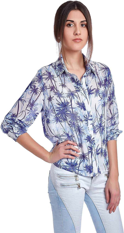 Q2 Mujer Camisa con estampado de palmeras azules - One - Azul: Amazon.es: Ropa y accesorios