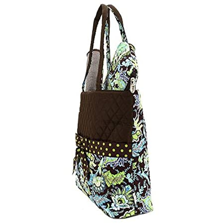 Amazon.com   Belvah Brown and Lime Quilted Floral 3 Pc Diaper Bag   Vera  Bradley Diaper Bag   Baby 87afde1111
