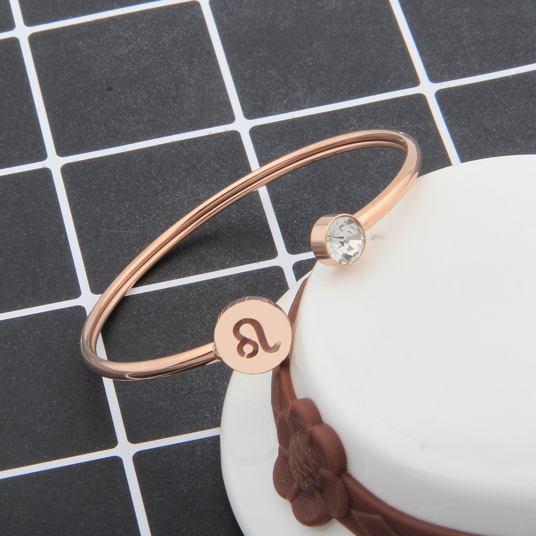 Zuo Bao Simple Rose Gold Zodiac Sign Cuff Bracelet with Birthstone Birthday Gift for Women Girls (Leo) by Zuo Bao (Image #4)