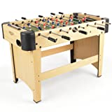 JumpStar 4ft Football Table Sports Games Tabletop Full Size Wooden (Natural Wood)
