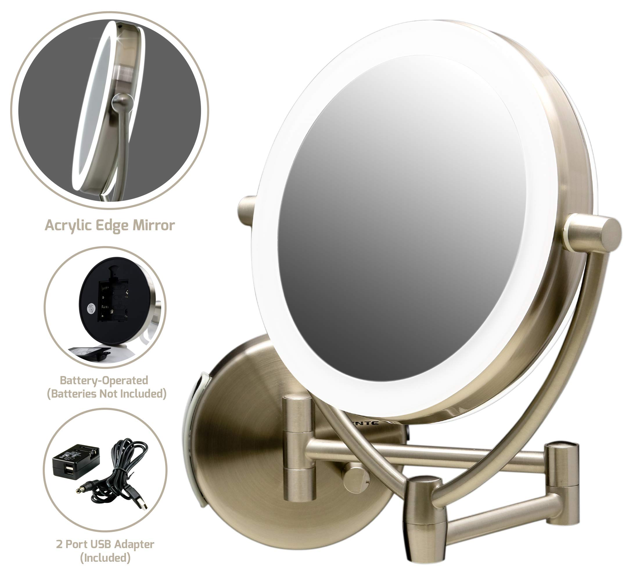 Ovente Wall Mount Mirror, Battery or USB Adapter Operated, Dimmable LED Lighted Makeup Mirror, 1x/10x Magnification, 9.5'', Nickel Brushed (MLW45BR1x10x) by Ovente