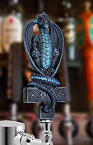 SUMMIT COLLECTION Fantasy Dragon On Celtic Cross Beer Tap Handle Display Grey Stone Sculptural Decor for Homebrew Kegerators Man Cave Bars Cool Beer Gift