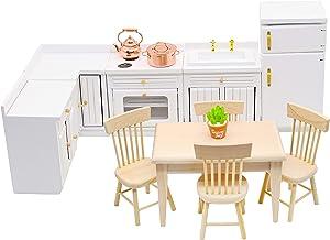 Hiawbon 1:12 Scale Dollhouse Wooden Furniture Miniature Kitchen Furniture Set Dollhouse Accessories Furniture Model for Girls