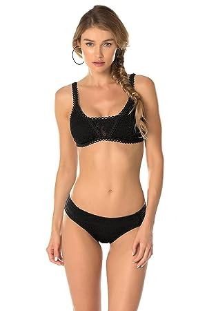 Becca by Rebecca Virtue Women's Prairie Rose Classic Bikini Top Black S