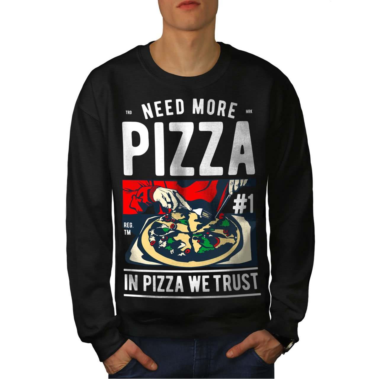 Italian Casual Jumper wellcoda in Pizza We Trust Mens Sweatshirt