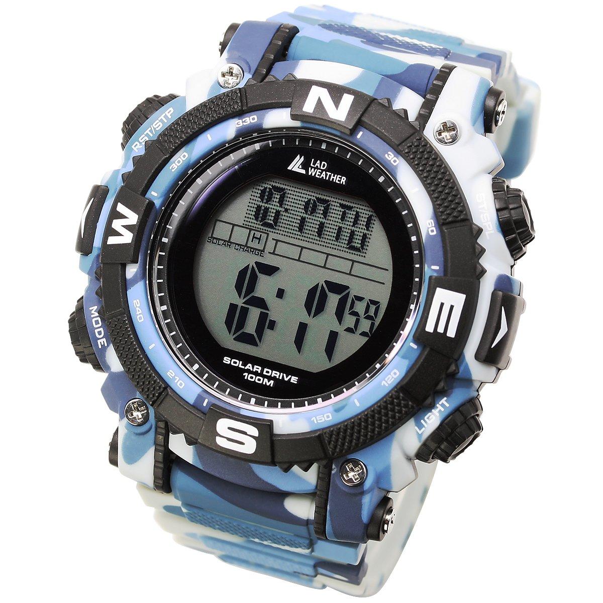 [Lad Weather] potente energía Solar Digital reloj deportivo militar vueltas reloj para hombre