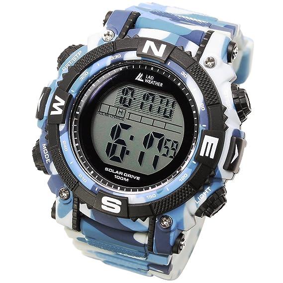 [Lad Weather] Potente Reloj Digital Solar de hombre de estilo militar deportivo con cronómetro: Amazon.es: Relojes