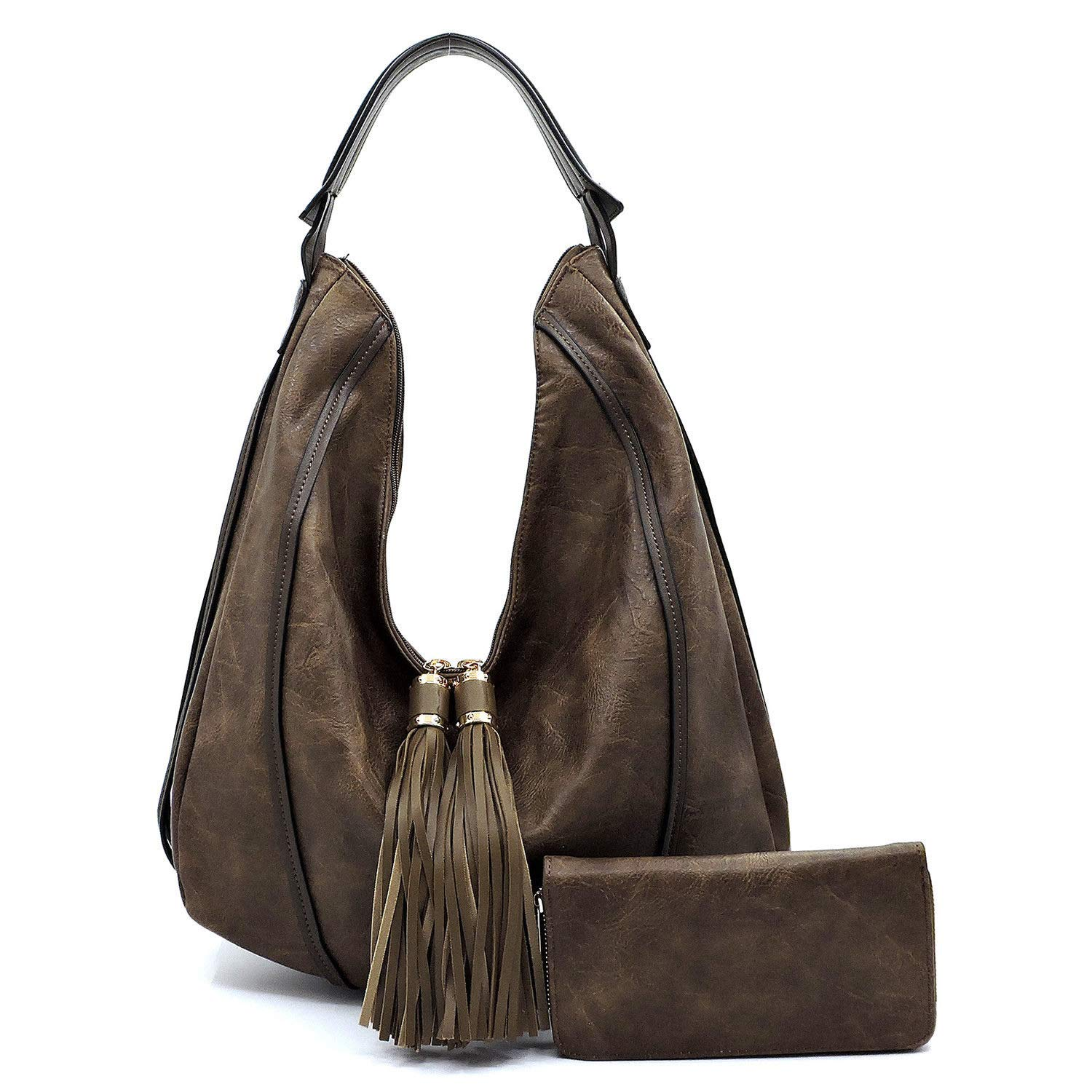 Le Miel Fringe Accent Large Distressed Effect Vegan Leather Hobo + WalletCoffee