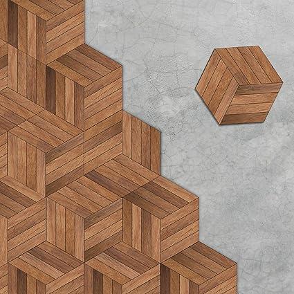 Amazon Vancore Wood Floor Tile Stickers Wall Sticker Hexagon