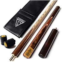 """CUESOUL 57"""" Handcraft 3/4 Jointed Snooker Cue with Extension/Joint Protector Packed in Leatherette Cue Bag"""
