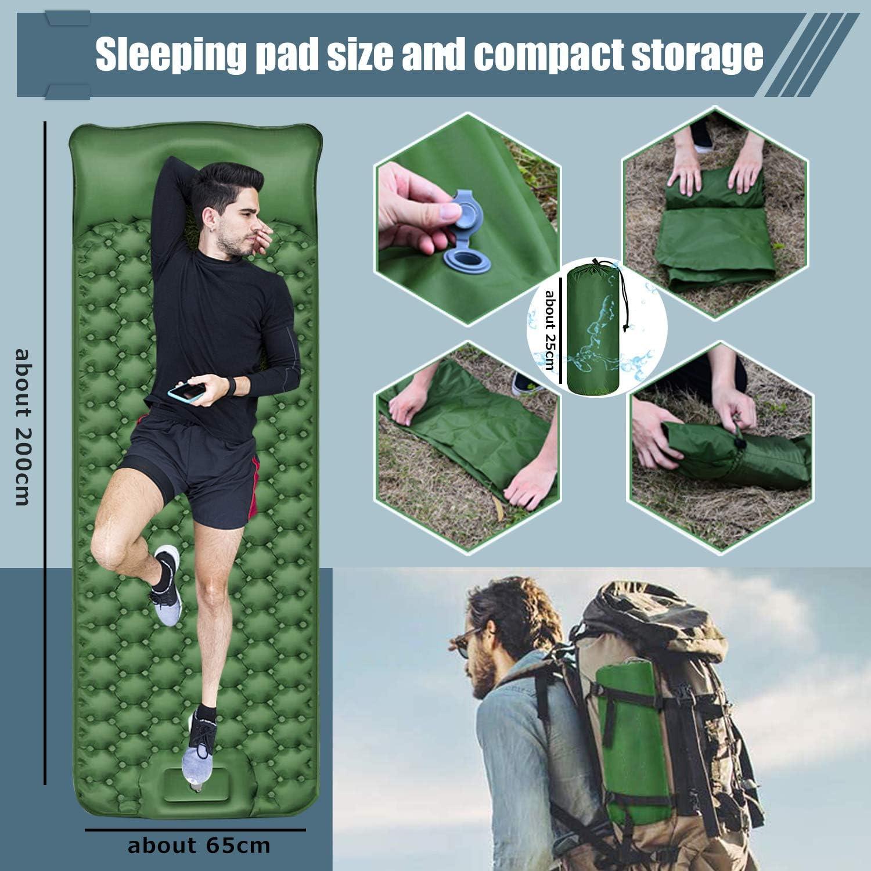 Kuyang Isomatte Camping langlebige Aufblasbare kompakte Luftmatratze mit eingebauter Pumpe wasserdichte leichte Rucksackunterlage f/ür Wanderungen zum Wandern auf Reisen