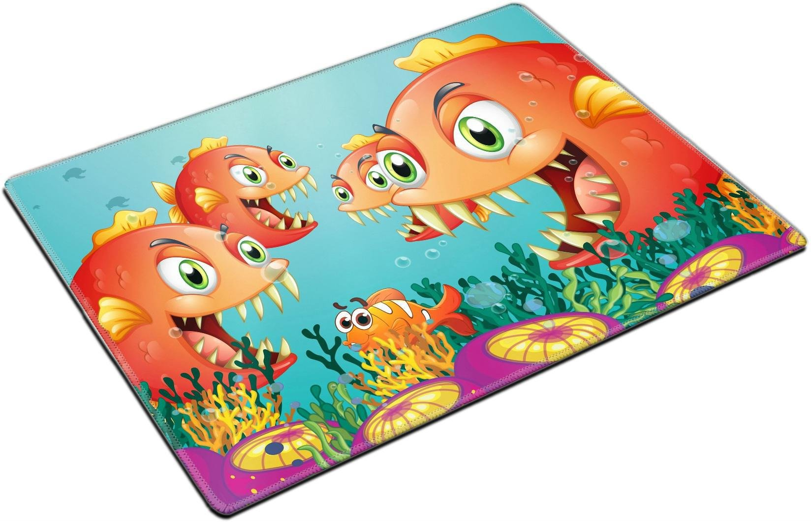 MSD Place Mat Non-Slip Natural Rubber Desk Pads Design 19645385 Illustration of a School of Piranha Under The sea