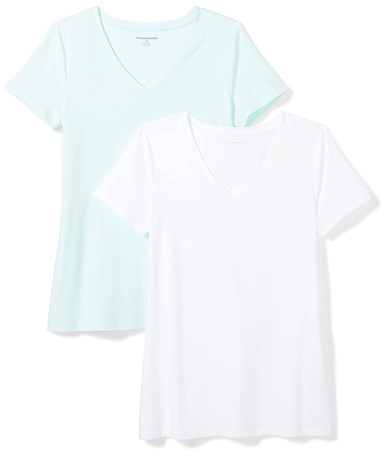 34c97eed Amazon.com: Amazon Essentials Women's 2-Pack Classic-Fit Short-Sleeve V-Neck  T-Shirt: Clothing