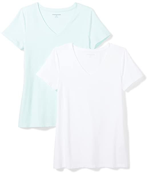 144b345ff Amazon Essentials Women's 2-Pack Classic-Fit Short-Sleeve V-Neck T