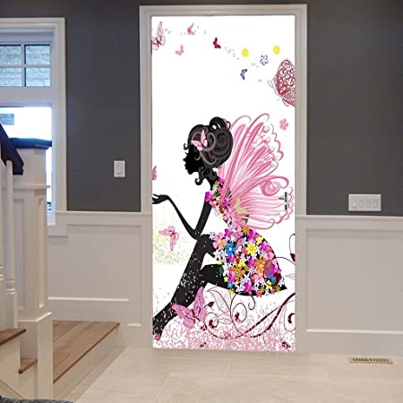 d5fc923dd1938 A.Monamour Pink Butterfly Girl With Floral Dress Flower Fairy Angel Wings  3D Print Eco-Friendly Vinyl Room Door Decals Wallpaper Wall Murals  Removable ...