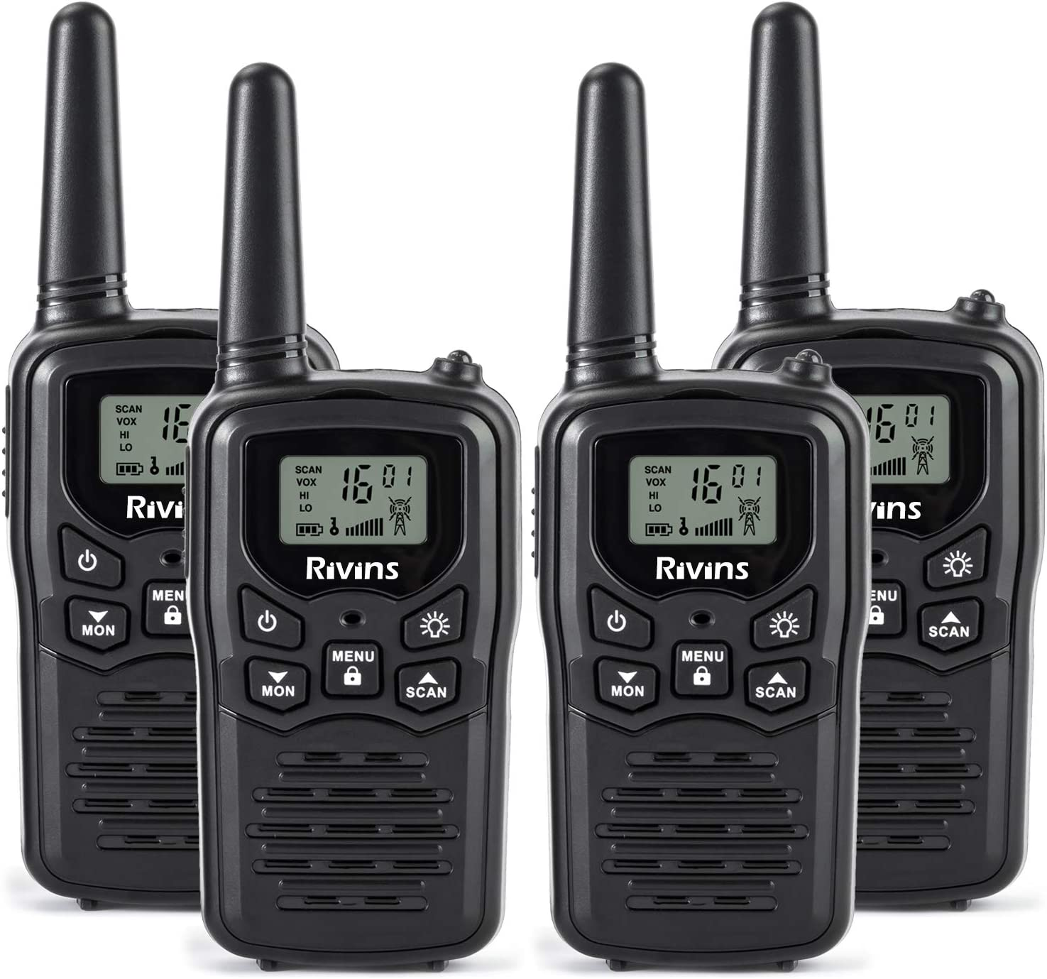 Rivins RV-7 Walkie Talkies Long Range 4 Pack 2-Way Radios Up to 5 Miles Range in Open Field 22 Channel FRS/GMRS Walkie Talkie for Adults UHF Handheld Walky Talky (Black/Orange)